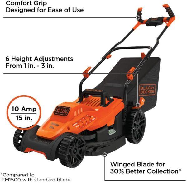 BLACK+DECKER Electric Lawn Mower, 10 -Amp, 15-Inch (BEMW472BH) - 3