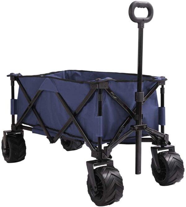 Patio Watcher Collapsible Wagon Folding Utility Wagon Cart Beach Outdoor Garden Camping Sports All Terrain Wagons Heavy Duty, Blue - 1