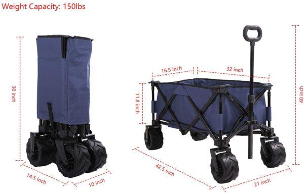 Patio Watcher Collapsible Wagon Folding Utility Wagon Cart Beach Outdoor Garden Camping Sports All Terrain Wagons Heavy Duty, Blue - 3