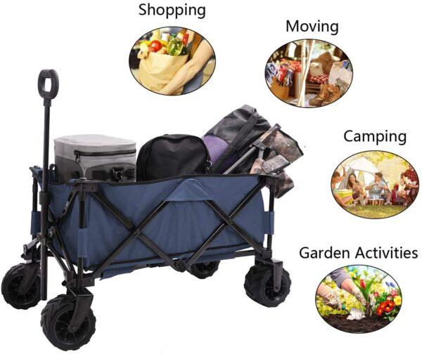Patio Watcher Collapsible Wagon Folding Utility Wagon Cart Beach Outdoor Garden Camping Sports All Terrain Wagons Heavy Duty, Blue - 4