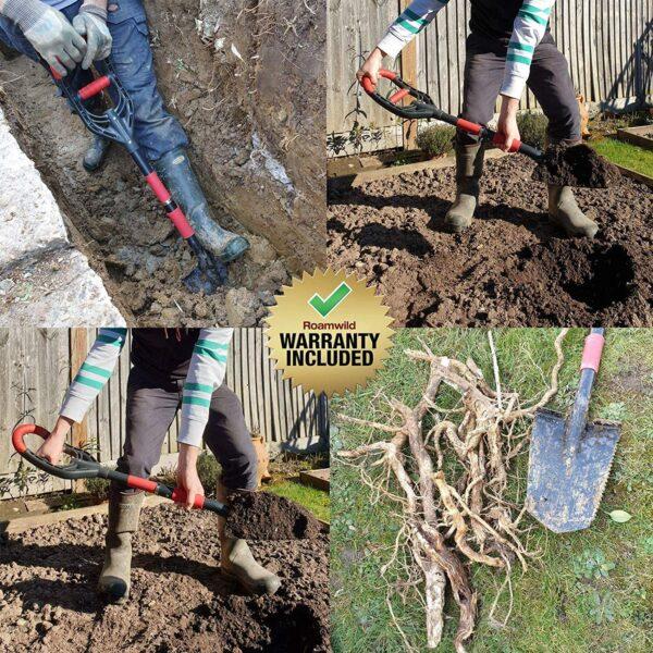 Roamwild Multi-Digger Garden Spade – Reinforced Fibreglass Light Weight Gardening Digging Arrow Head Shovel with Unique Dual Soft AIR Light Grip Technology & Root Saw Stump Cutter. - 3