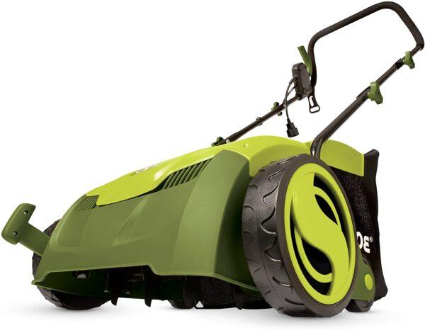 Sun Joe AJ801E 13 in. 12 Amp Electric Scarifier + Lawn Dethatcher w-Collection Bag, Green - 1