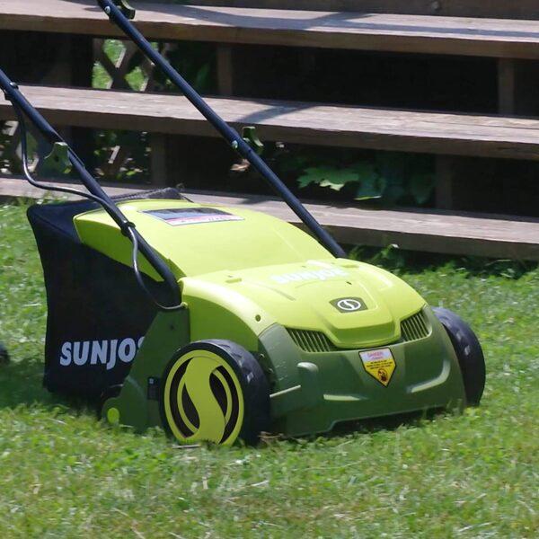 Sun Joe AJ801E 13 in. 12 Amp Electric Scarifier + Lawn Dethatcher w-Collection Bag, Green - 3