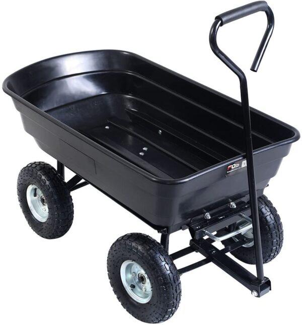 Giantex Dump Cart Garden Dumper 660 Lbs W-Heavy Duty Steel Frame Pneumatic Tires for Lawn Tractor Riding Mowers Yard Barrow Wagon Carrier - 1