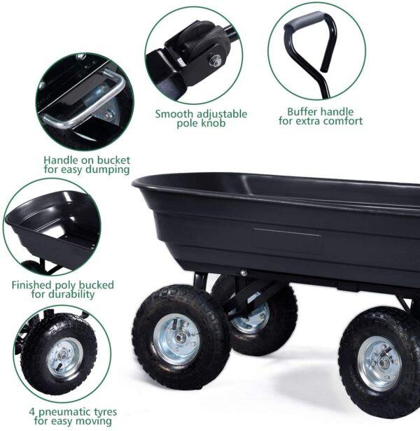 Giantex Dump Cart Garden Dumper 660 Lbs W-Heavy Duty Steel Frame Pneumatic Tires for Lawn Tractor Riding Mowers Yard Barrow Wagon Carrier - 2