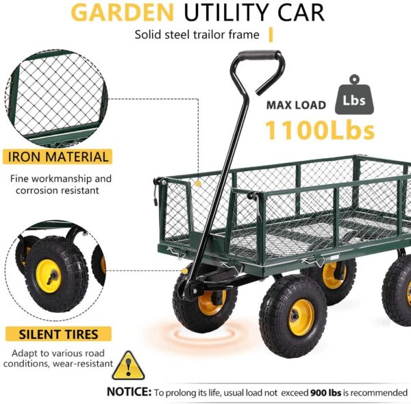 VIVOHOME Heavy Duty 1100 Lbs Capacity Mesh Steel Garden Cart Folding Utility Wagon with Removable Sides and 10 Inch Wheels (Green) - 2